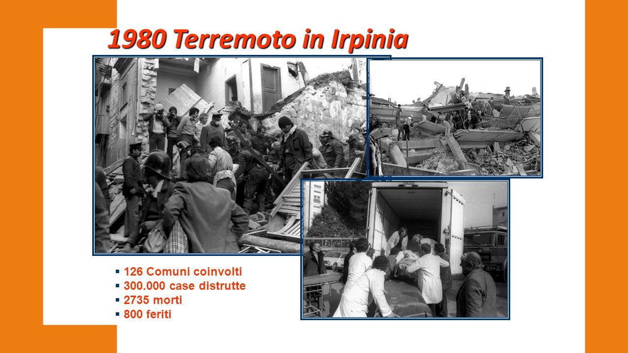 1980 Terremoto in Irpinia 126 Comuni coinvolti 300.000 case distrutte