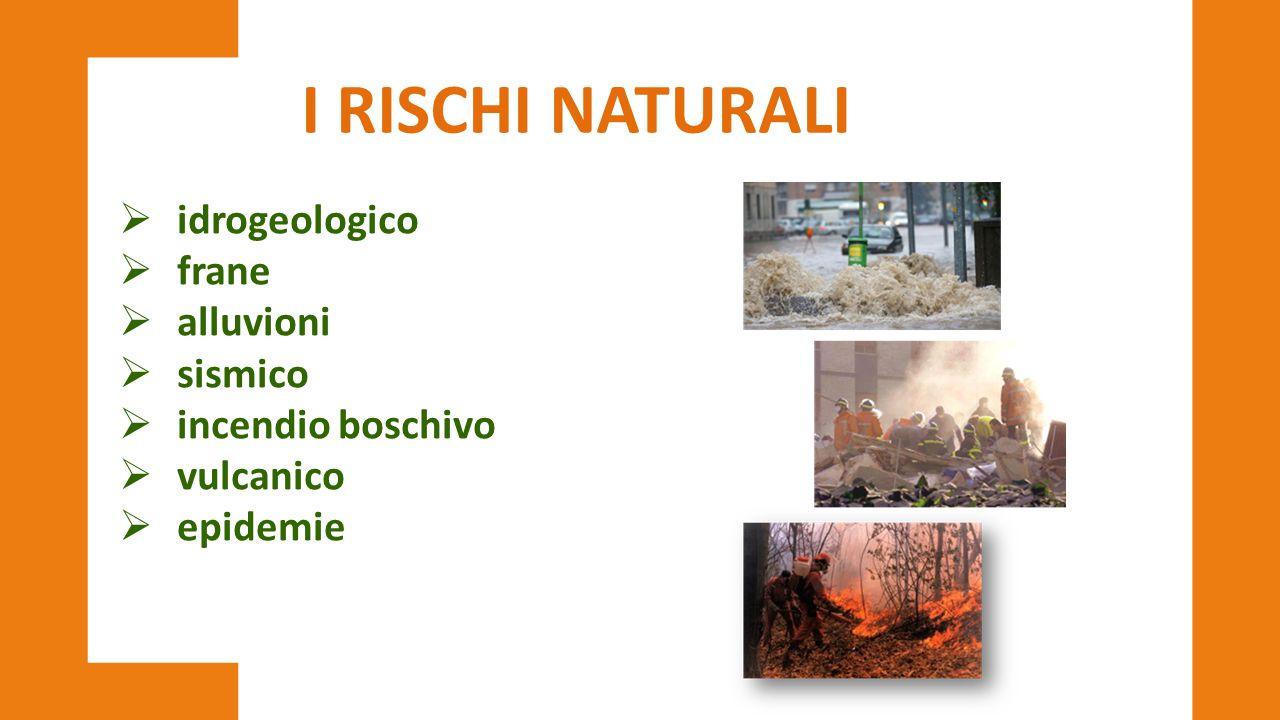 I RISCHI NATURALI idrogeologico frane alluvioni sismico