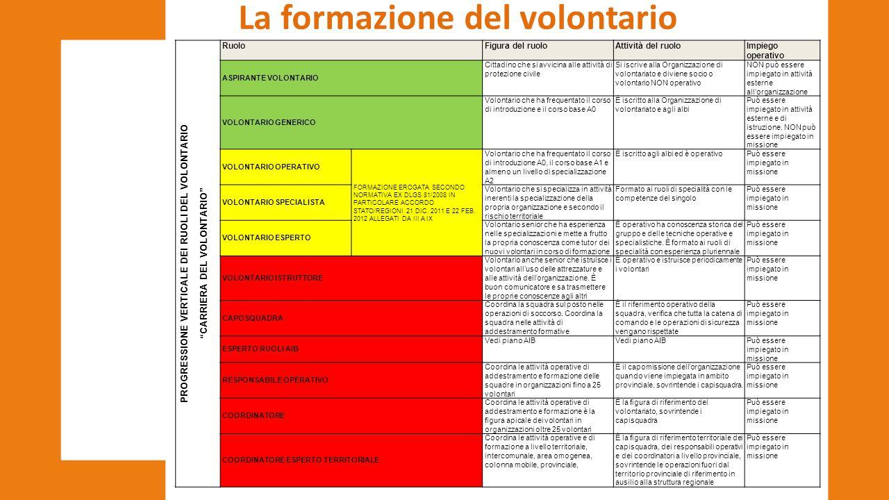 La formazione del volontario CARRIERA DEL VOLONTARIO