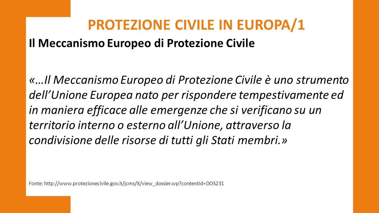 PROTEZIONE CIVILE IN EUROPA/1