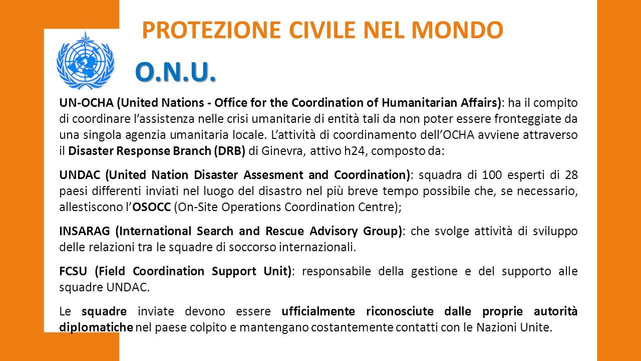O.N.U. PROTEZIONE CIVILE NEL MONDO