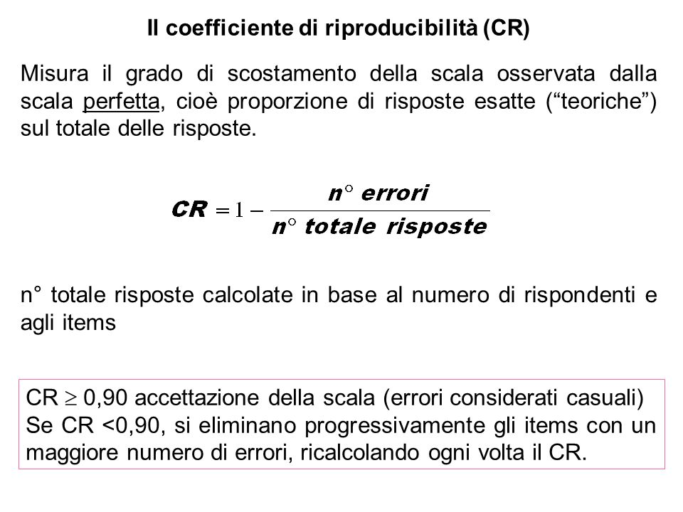 Il coefficiente di riproducibilità (CR)