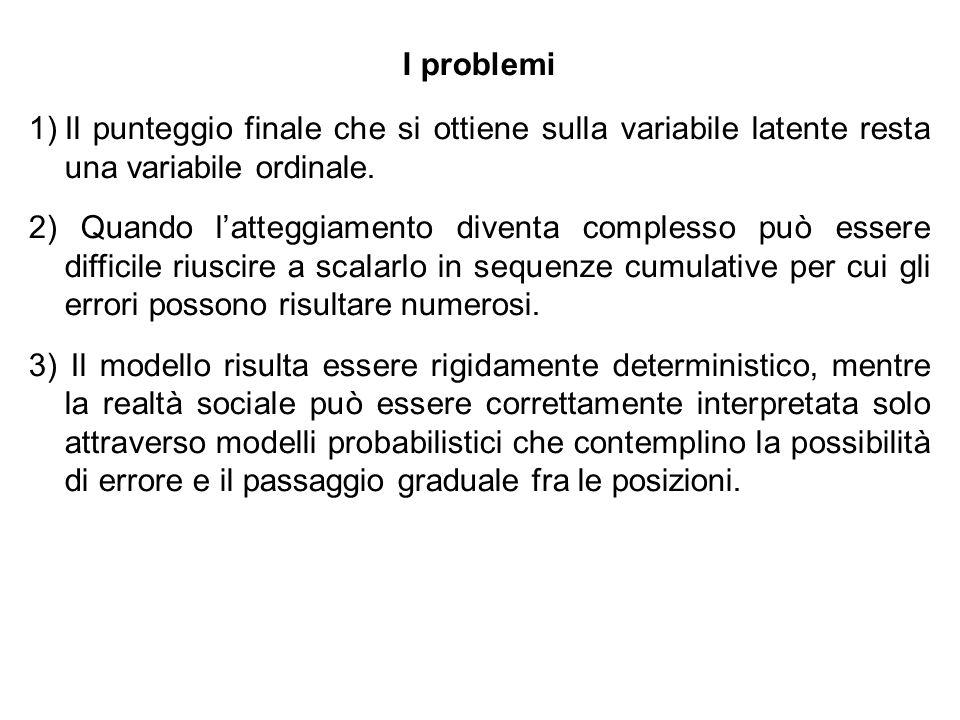 I problemi Il punteggio finale che si ottiene sulla variabile latente resta una variabile ordinale.