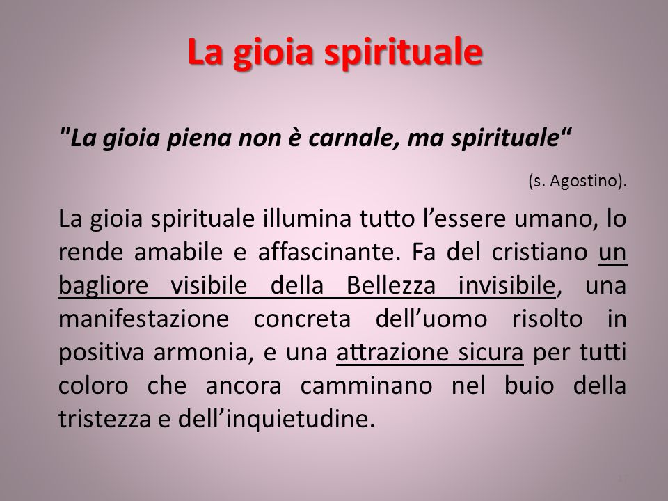La gioia spirituale