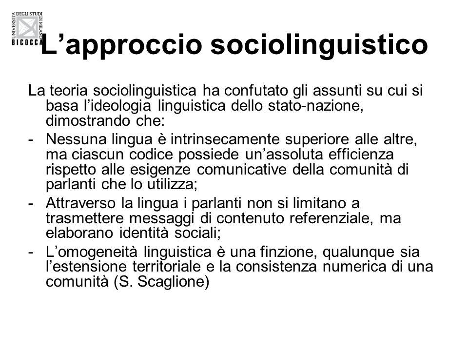L'approccio sociolinguistico
