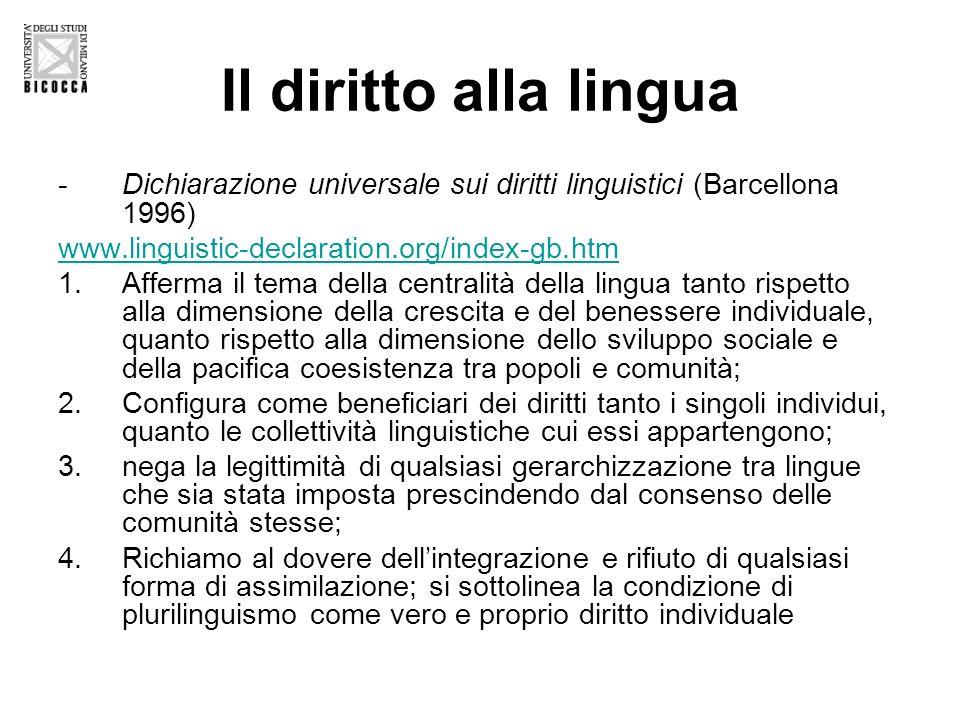 Il diritto alla lingua Dichiarazione universale sui diritti linguistici (Barcellona 1996) www.linguistic-declaration.org/index-gb.htm.