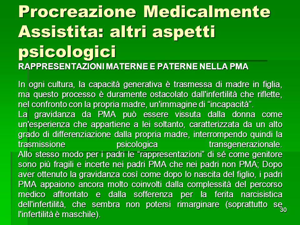Procreazione Medicalmente Assistita: altri aspetti psicologici