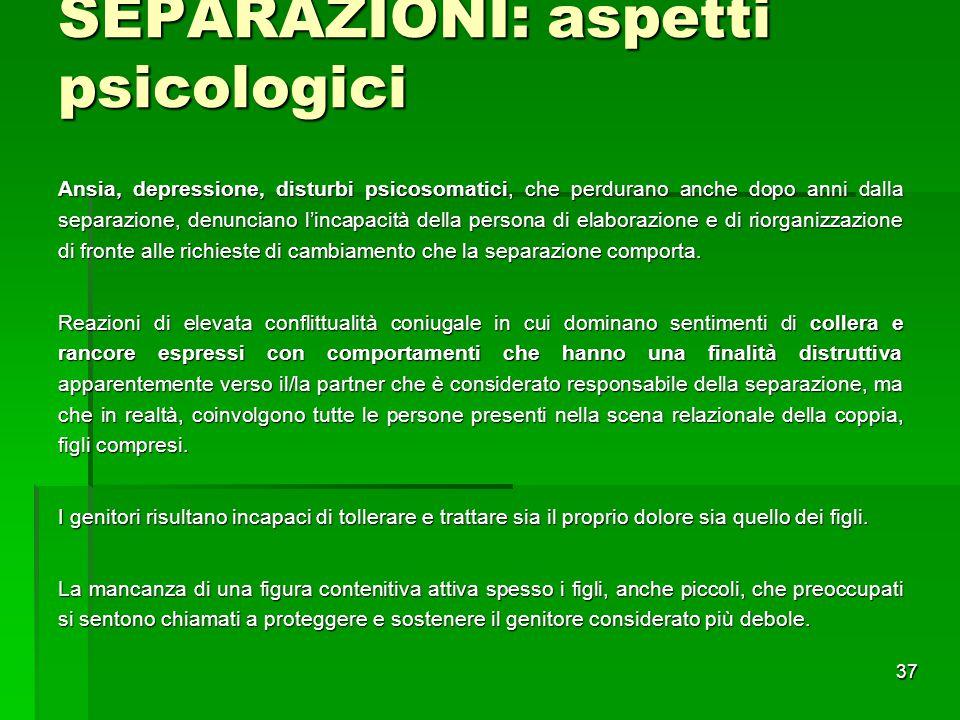 SEPARAZIONI: aspetti psicologici