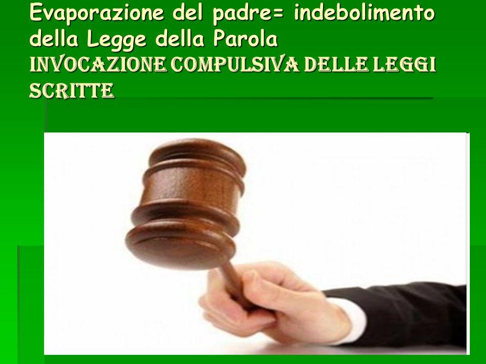 Evaporazione del padre= indebolimento della Legge della Parola invocazione compulsiva delle leggi scritte