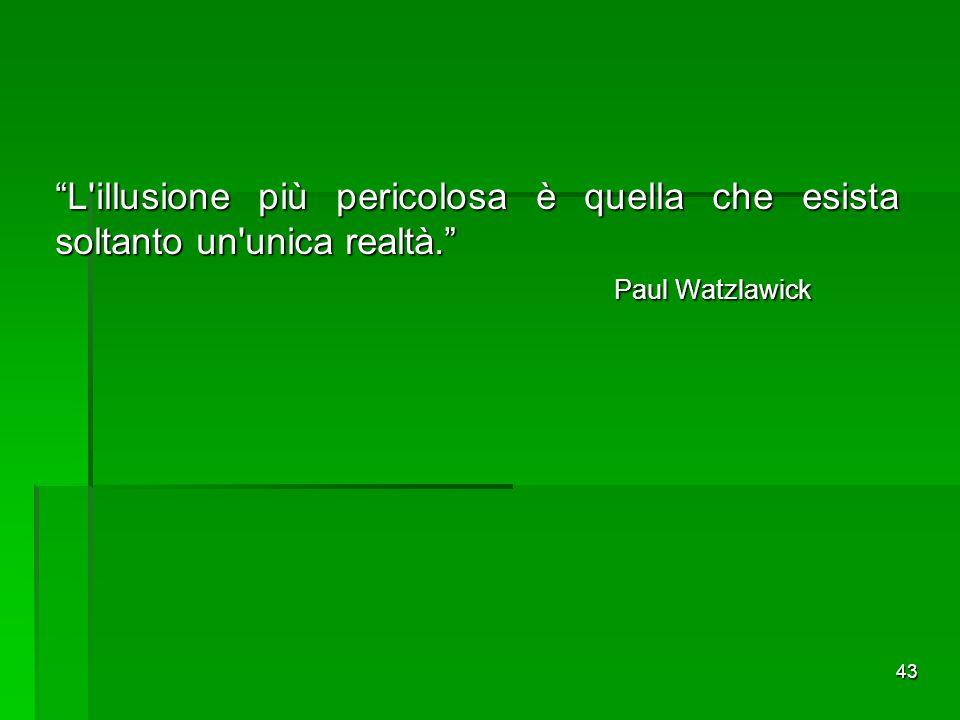 L illusione più pericolosa è quella che esista soltanto un unica realtà. Paul Watzlawick