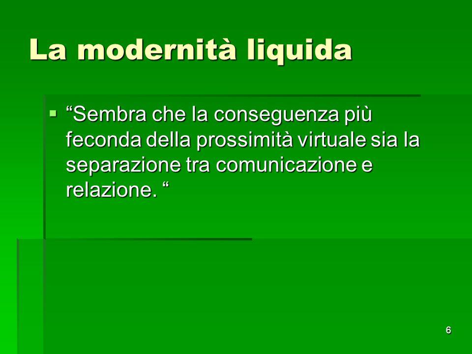 La modernità liquida Sembra che la conseguenza più feconda della prossimità virtuale sia la separazione tra comunicazione e relazione.