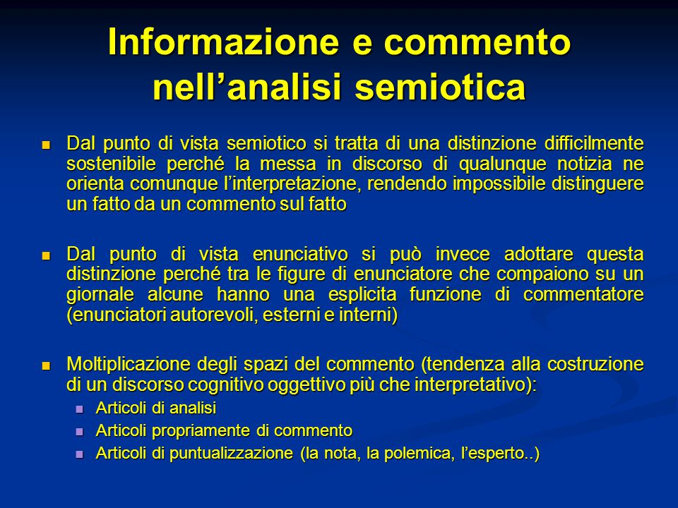 Informazione e commento nell'analisi semiotica