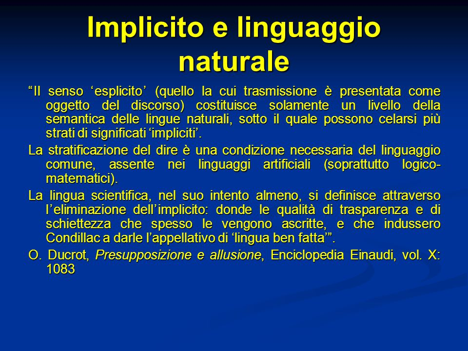 Implicito e linguaggio naturale
