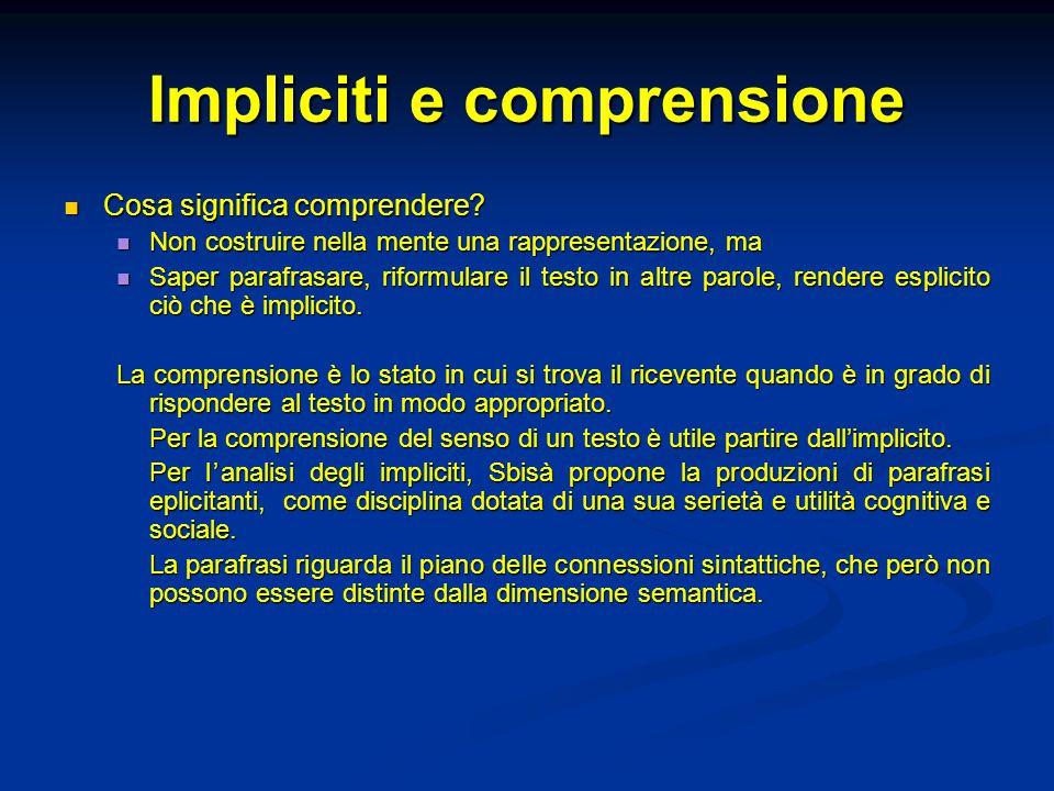 Impliciti e comprensione
