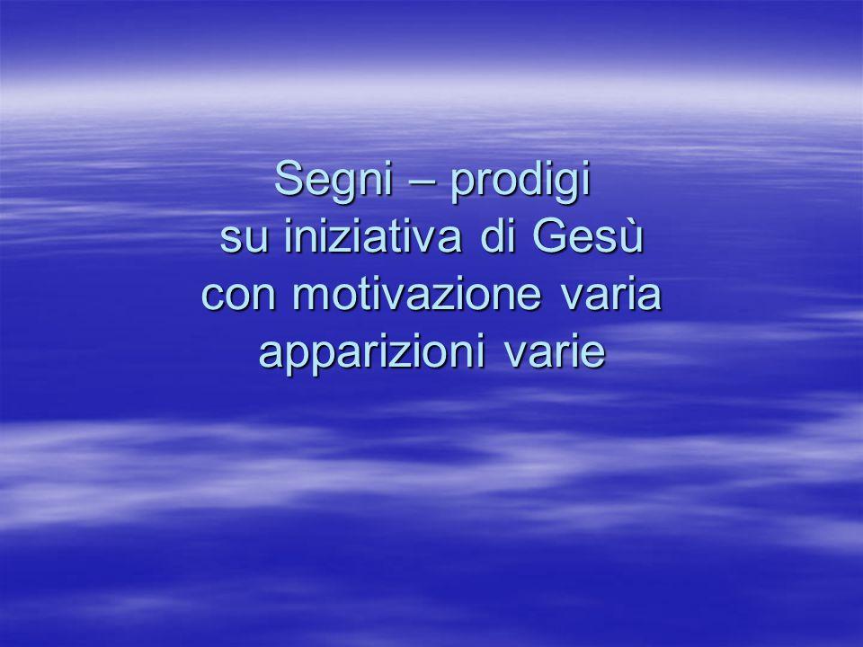 Segni – prodigi su iniziativa di Gesù con motivazione varia apparizioni varie