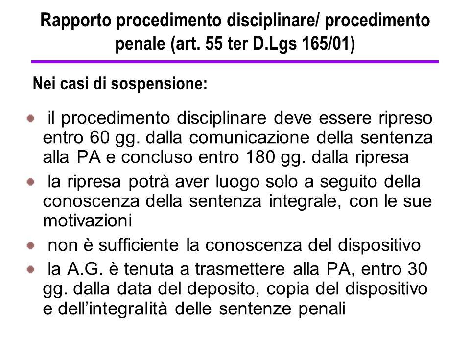 Rapporto procedimento disciplinare/ procedimento penale (art. 55 ter D