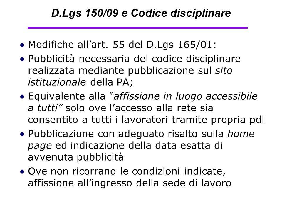 D.Lgs 150/09 e Codice disciplinare
