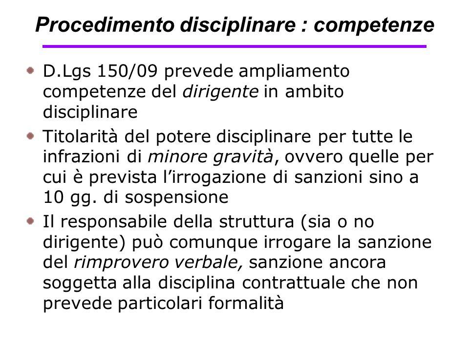 Procedimento disciplinare : competenze