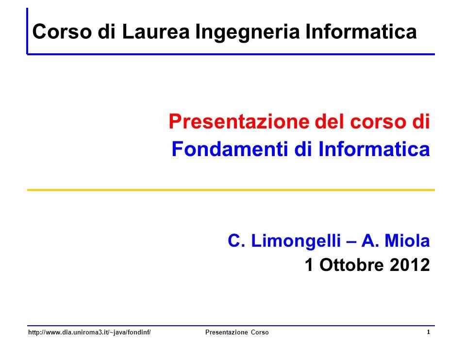 Corso di Laurea Ingegneria Informatica