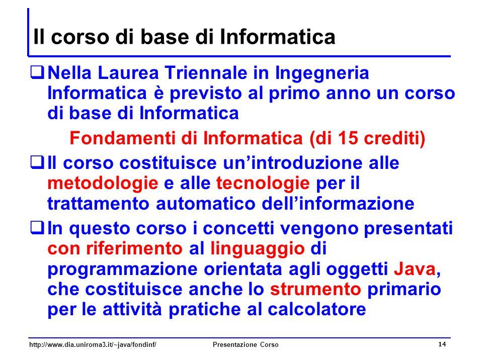 Il corso di base di Informatica