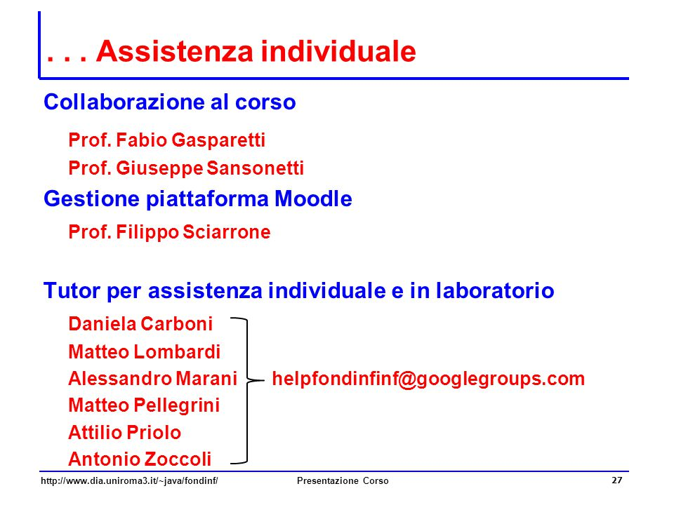 . . . Assistenza individuale