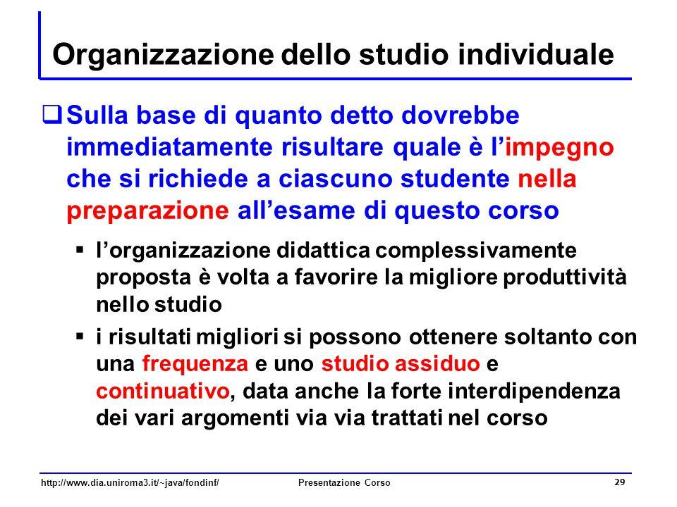 Organizzazione dello studio individuale