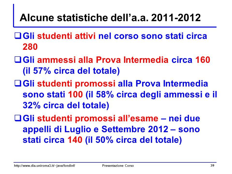 Alcune statistiche dell'a.a. 2011-2012