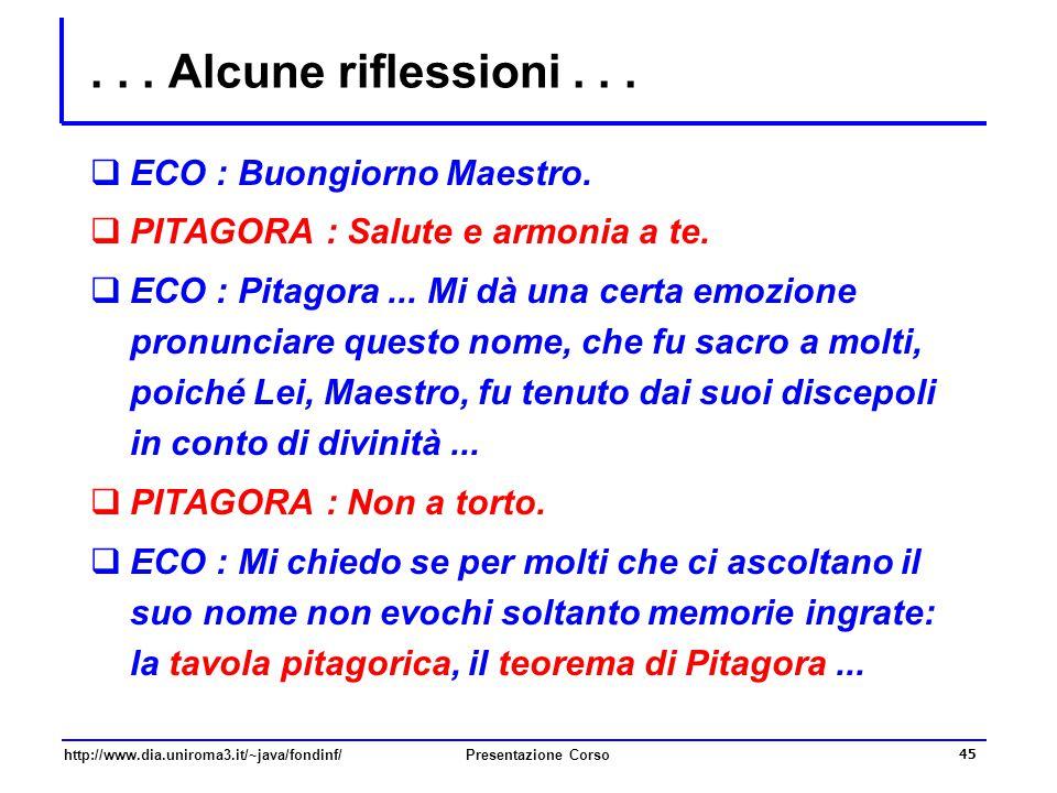 . . . Alcune riflessioni . . . ECO : Buongiorno Maestro.