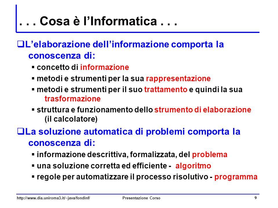 . . . Cosa è l'Informatica . . . L'elaborazione dell'informazione comporta la conoscenza di: concetto di informazione.