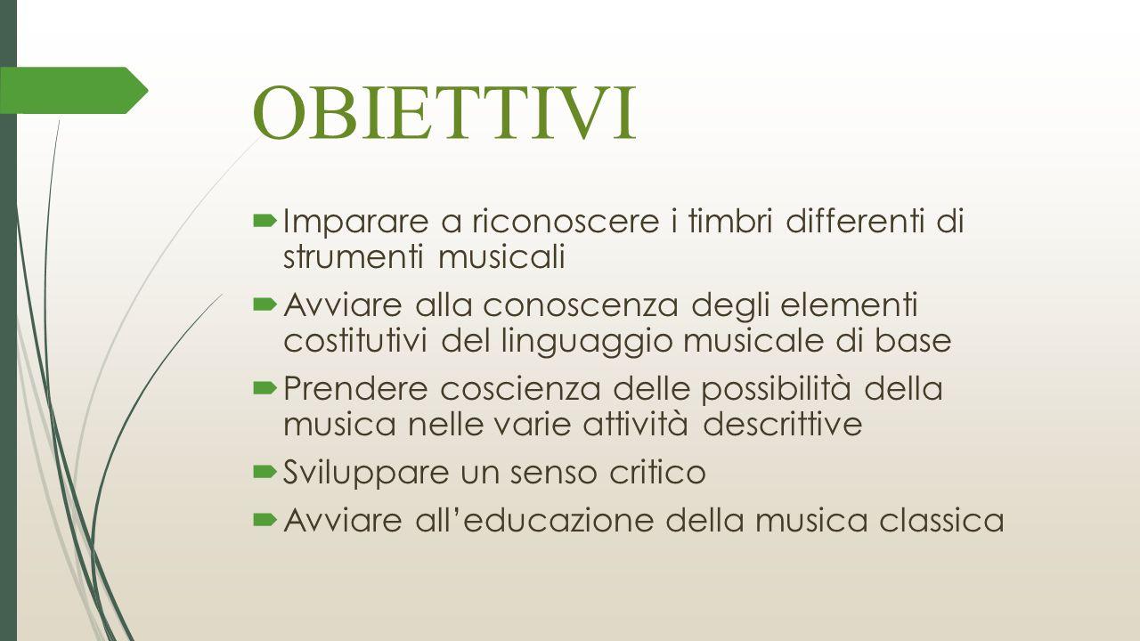 OBIETTIVI Imparare a riconoscere i timbri differenti di strumenti musicali.