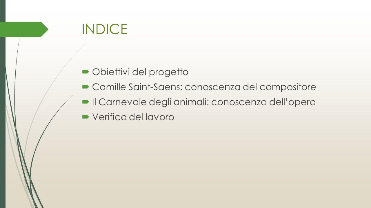 INDICE Obiettivi del progetto