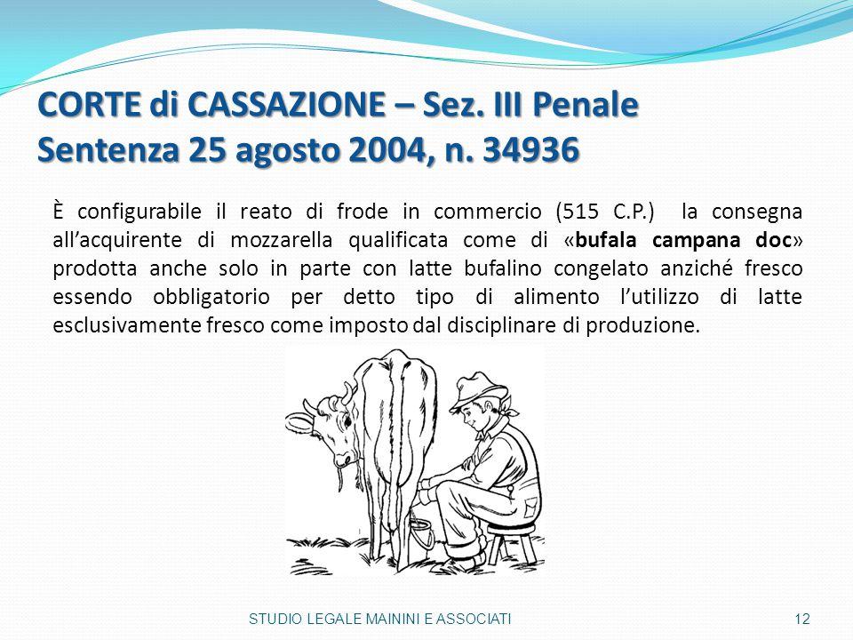 CORTE di CASSAZIONE – Sez. III Penale