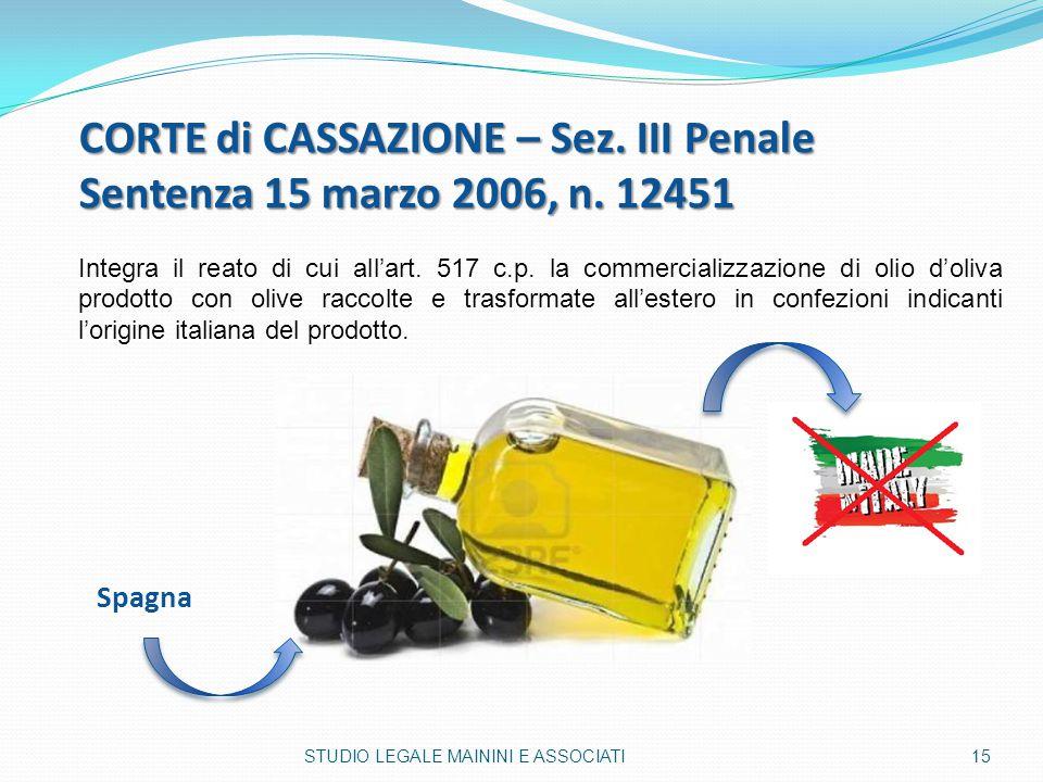 CORTE di CASSAZIONE – Sez. III Penale Sentenza 15 marzo 2006, n. 12451