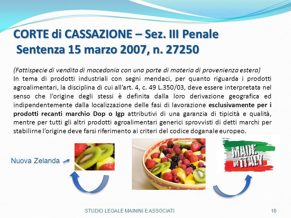 CORTE di CASSAZIONE – Sez. III Penale Sentenza 15 marzo 2007, n. 27250