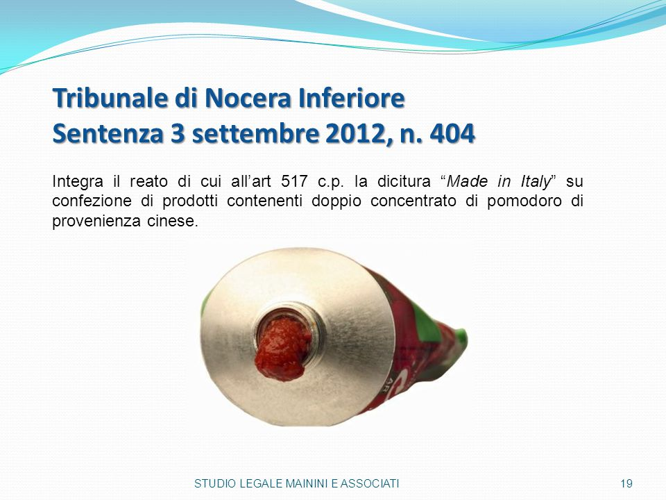 Tribunale di Nocera Inferiore Sentenza 3 settembre 2012, n. 404