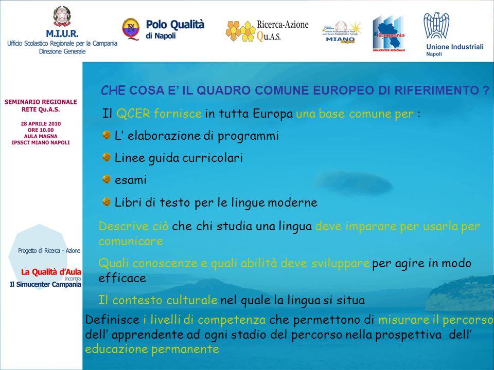 CHE COSA E' IL QUADRO COMUNE EUROPEO DI RIFERIMENTO