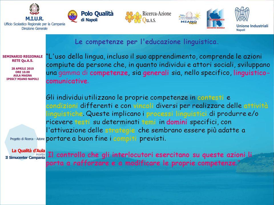 Le competenze per l educazione linguistica.