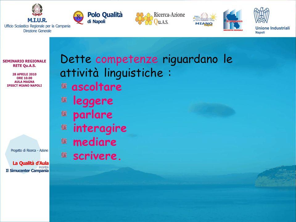 Dette competenze riguardano le attività linguistiche :