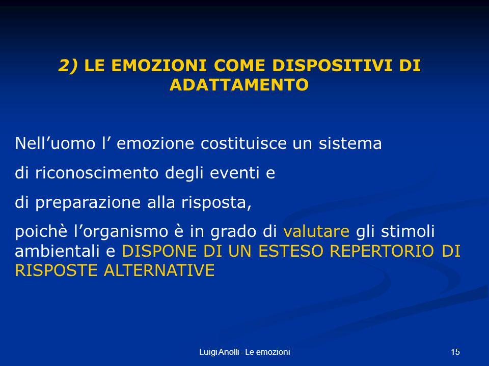 2) LE EMOZIONI COME DISPOSITIVI DI ADATTAMENTO