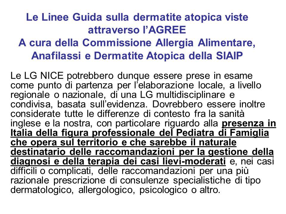 Le Linee Guida sulla dermatite atopica viste attraverso l'AGREE A cura della Commissione Allergia Alimentare, Anafilassi e Dermatite Atopica della SIAIP