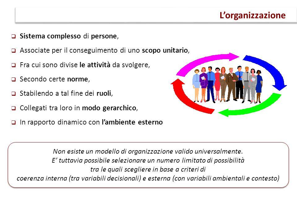 L'organizzazione Sistema complesso di persone,