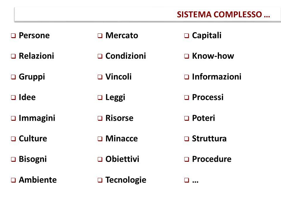 SISTEMA COMPLESSO … Persone Mercato Capitali Relazioni Condizioni