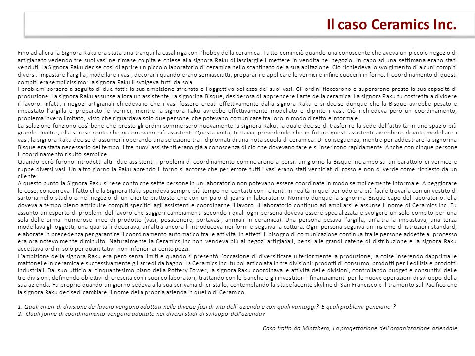 Il caso Ceramics Inc.