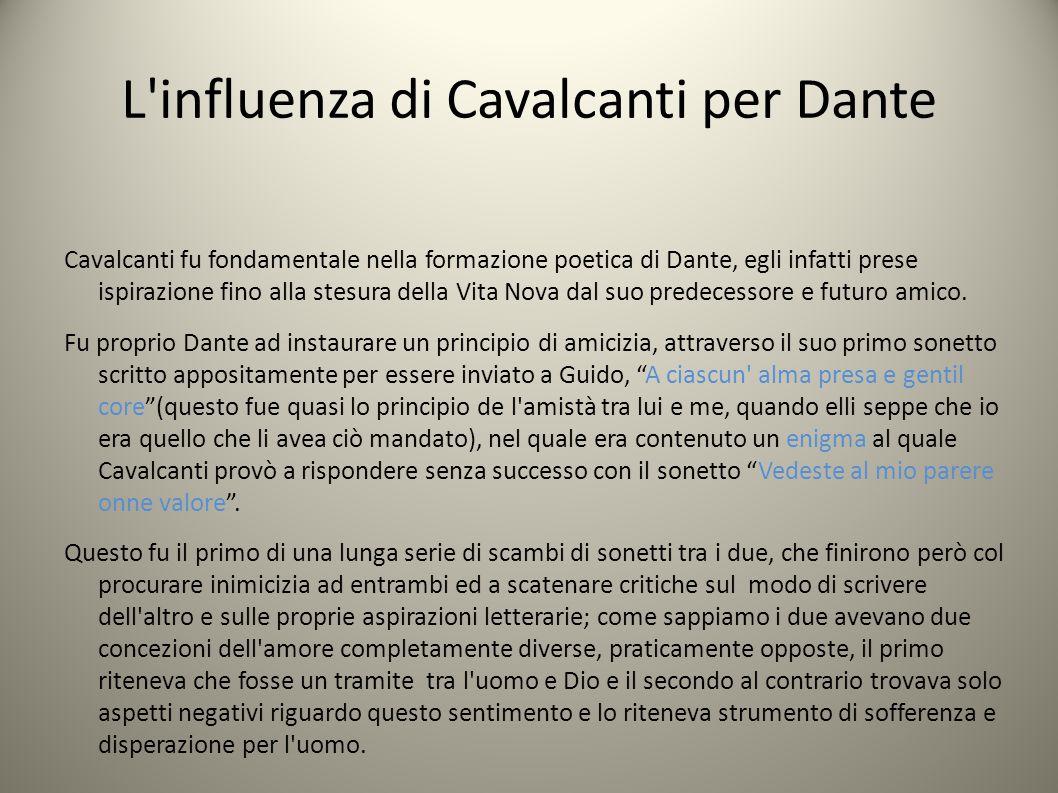 L influenza di Cavalcanti per Dante