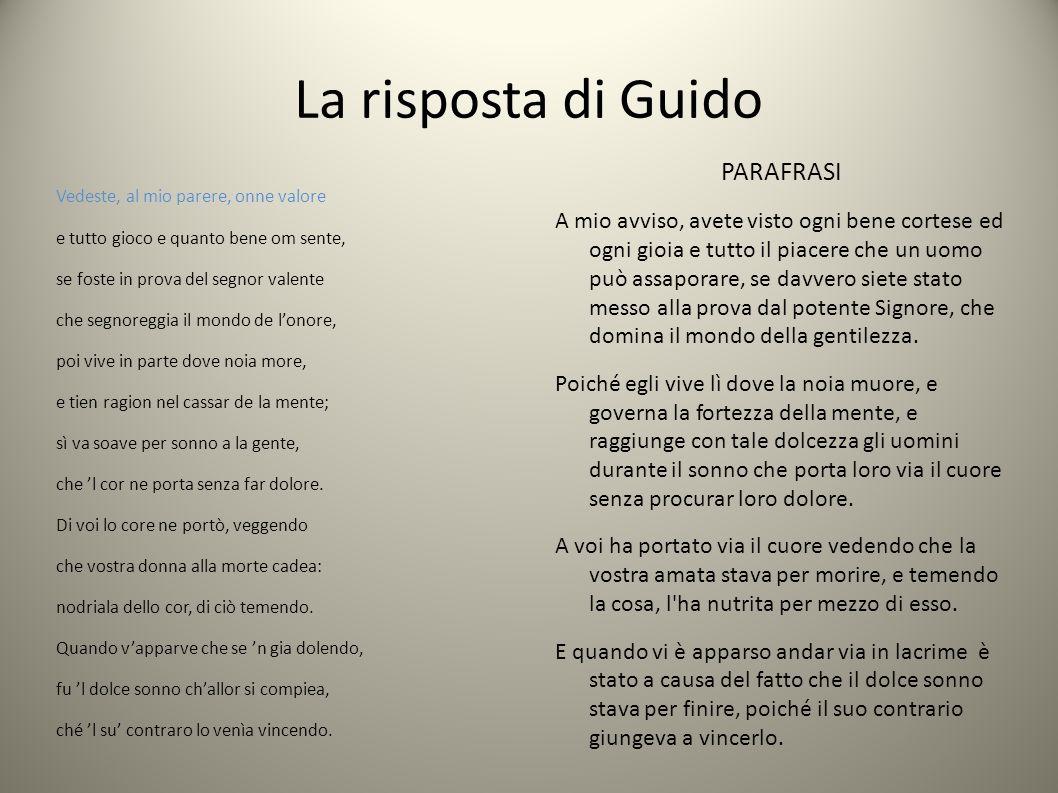 La risposta di Guido PARAFRASI