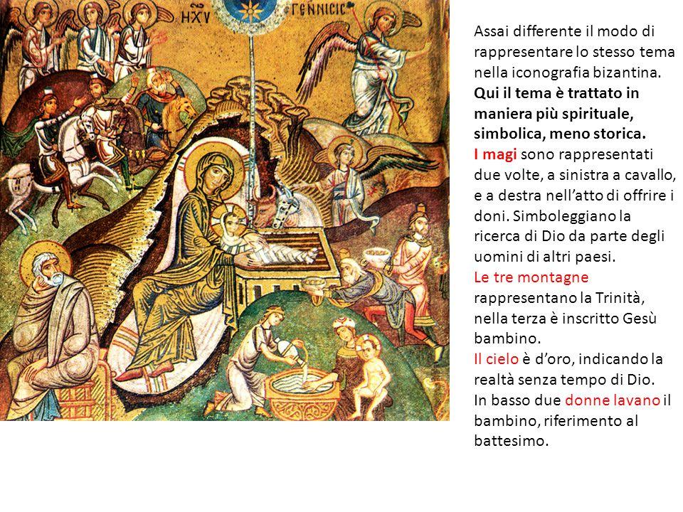 Assai differente il modo di rappresentare lo stesso tema nella iconografia bizantina. Qui il tema è trattato in maniera più spirituale, simbolica, meno storica.