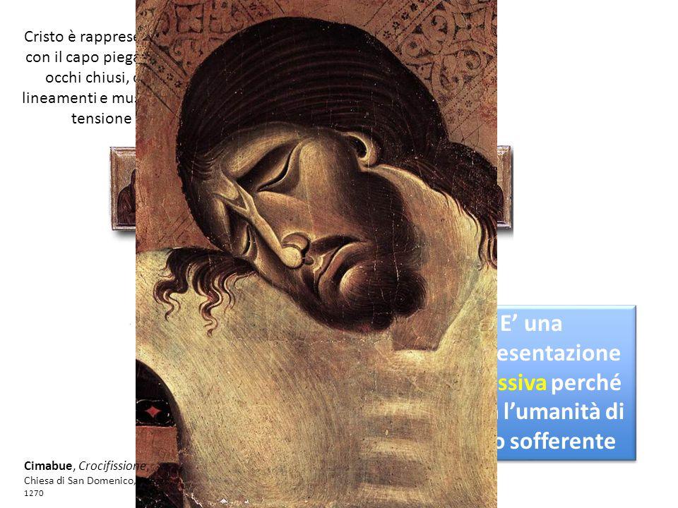 Cristo è rappresentato con il capo piegato, gli occhi chiusi, con lineamenti e muscoli in tensione