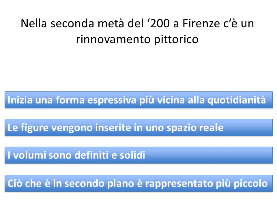 Nella seconda metà del '200 a Firenze c'è un rinnovamento pittorico