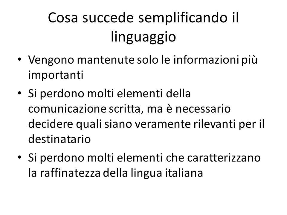 Cosa succede semplificando il linguaggio
