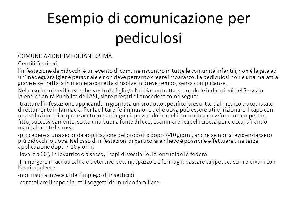 Esempio di comunicazione per pediculosi